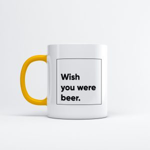 Koffiemok - Wish you were beer vierkant